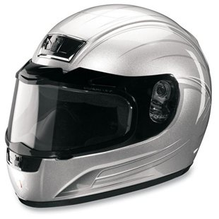 Image of Silver Warrior Snowmobile Helmet (Large)